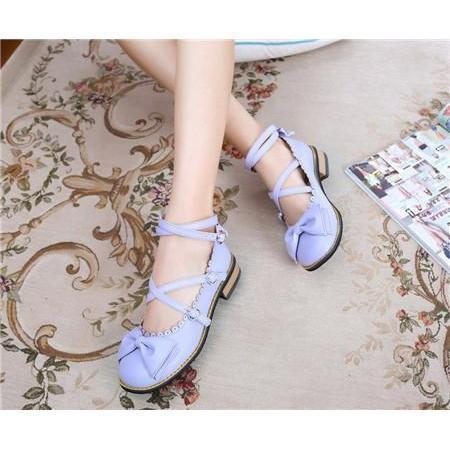 Girls Sweet Bowtie Chunky Heels Lolita Shoes-Violet-6-