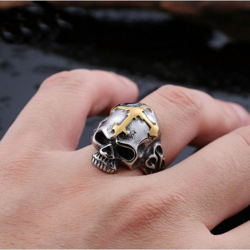 Gold and Red Cross Skeleton Hear Band For Men - The Black Ravens