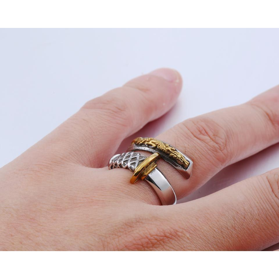 Golden Samurai Sword Man`s Gold Rings-7-