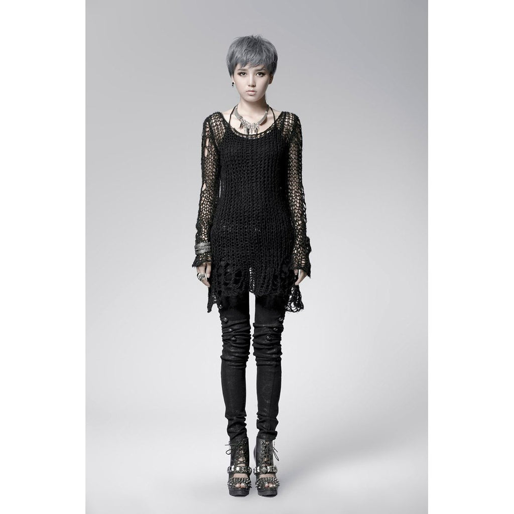 Goth Lady Sexy Torn Sweater-