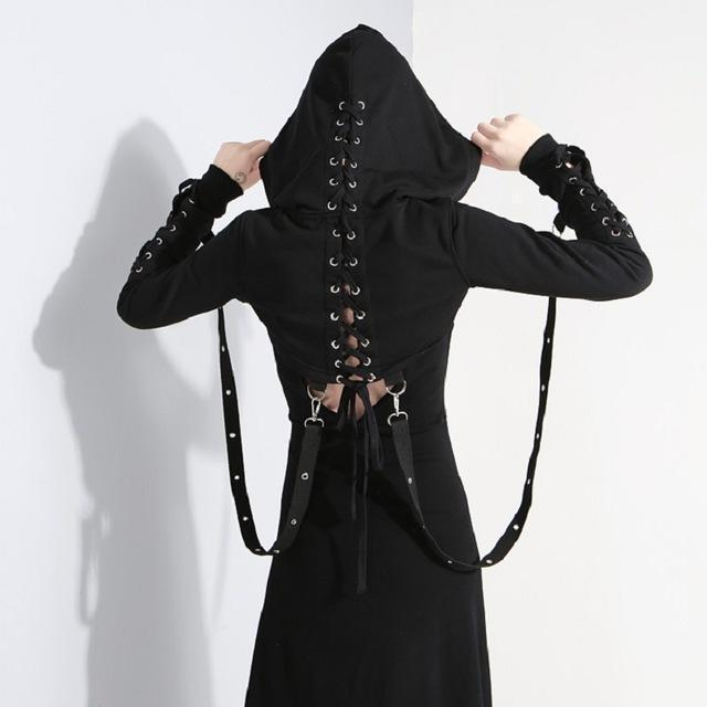 Goth Lady's Hooded Midriff-M-