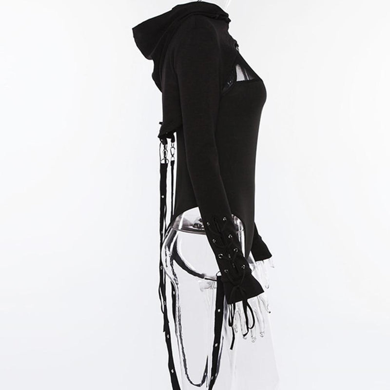 Goth Lady's Hooded Midriff-S-
