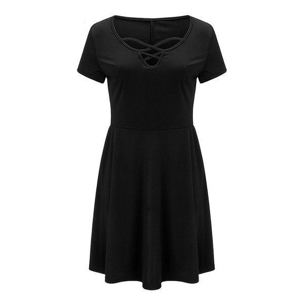 Gothic Bandage Chest Casual Dress - The Black Ravens