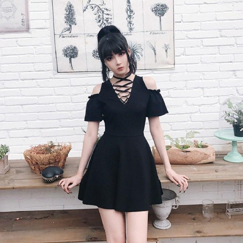 Gothic Bandage Hollow Shoulder Dress - The Black Ravens