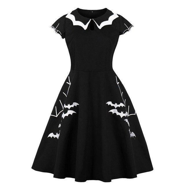 Gothic Bat Printed Black Halloween Dress-Black Dress-XL-