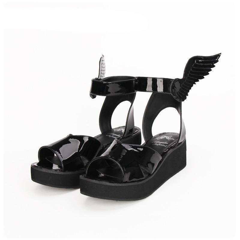 Gothic Black Angel Wing Sandal Wedges-Black-6-