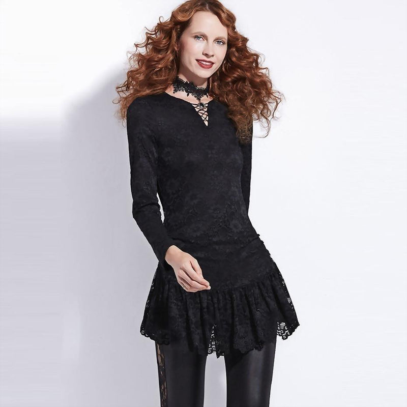 Gothic Black Lace Blouse For Women Autumn - The Black Ravens