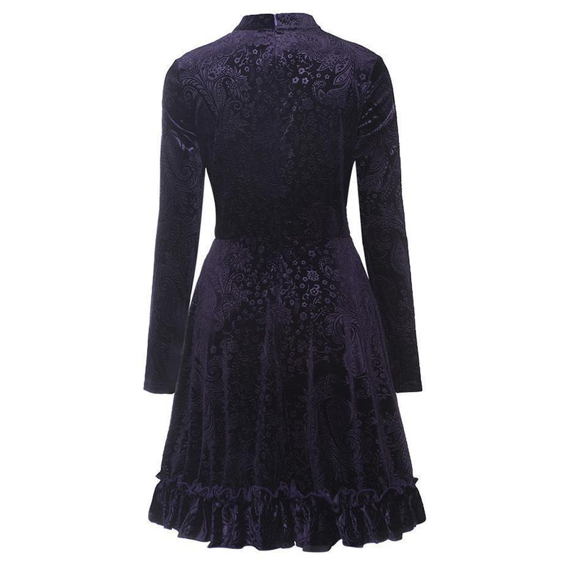 Gothic Bow Collar A-Line Dress - The Black Ravens