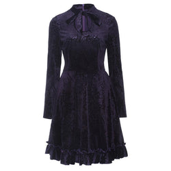 Gothic Bow Collar A-Line Dress-Purple-S-