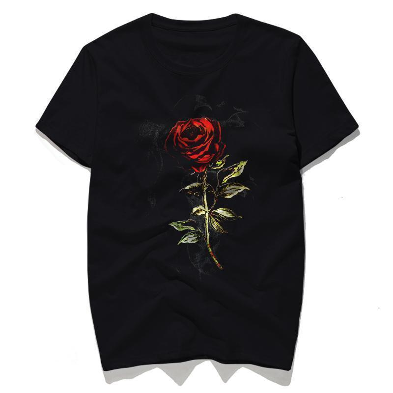 Gothic Dark Red Rose Top - The Black Ravens