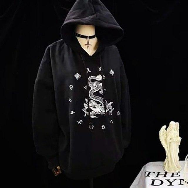 Gothic Dragon Print Lady's Casual Hoodie - The Black Ravens