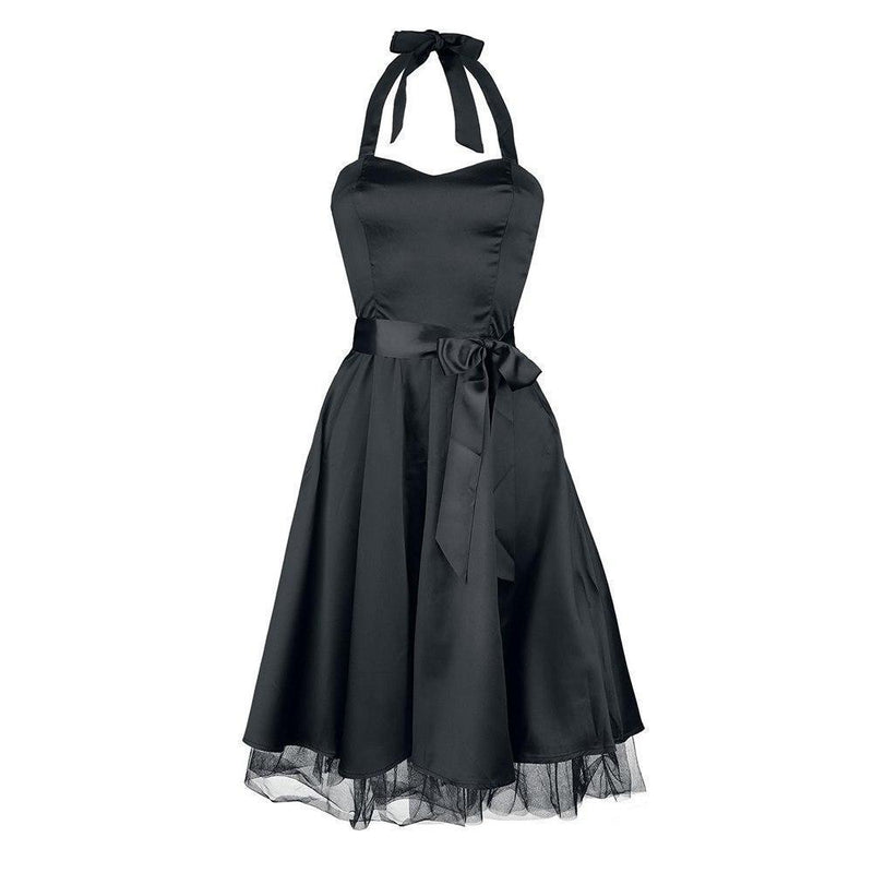 Gothic Halter Bowknot Party Dress - The Black Ravens