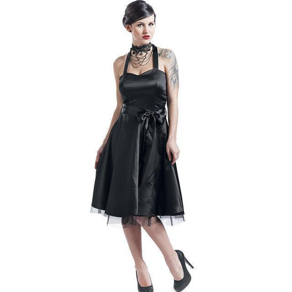 Gothic Halter Bowknot Party Dress-S-