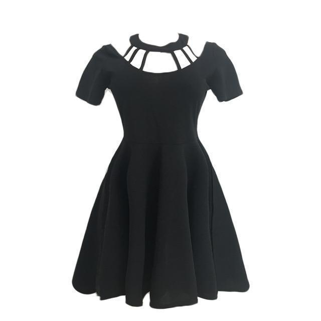 Gothic Halter Choker Dress-Black-M-
