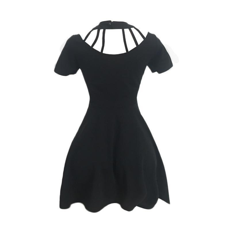 Gothic Halter Choker Dress-Black-S-