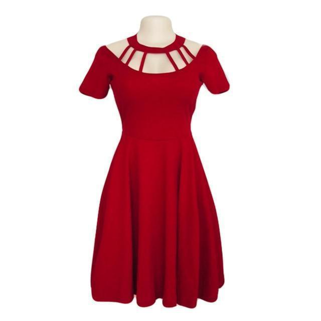 Gothic Halter Choker Dress-Red-L-