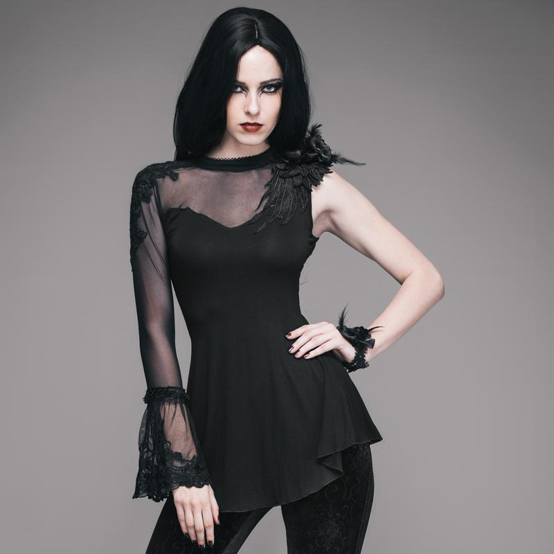 Gothic Lady Sexy Transparent Sleeveless Top-S-