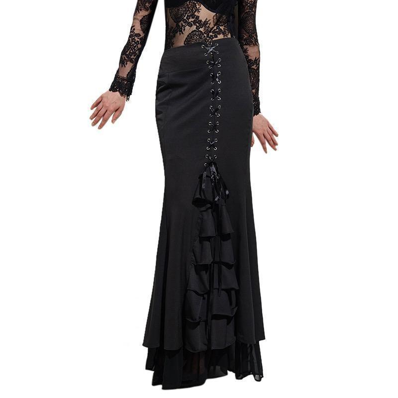 Gothic Mermaid Frilly Skirt For Women-Black-S-