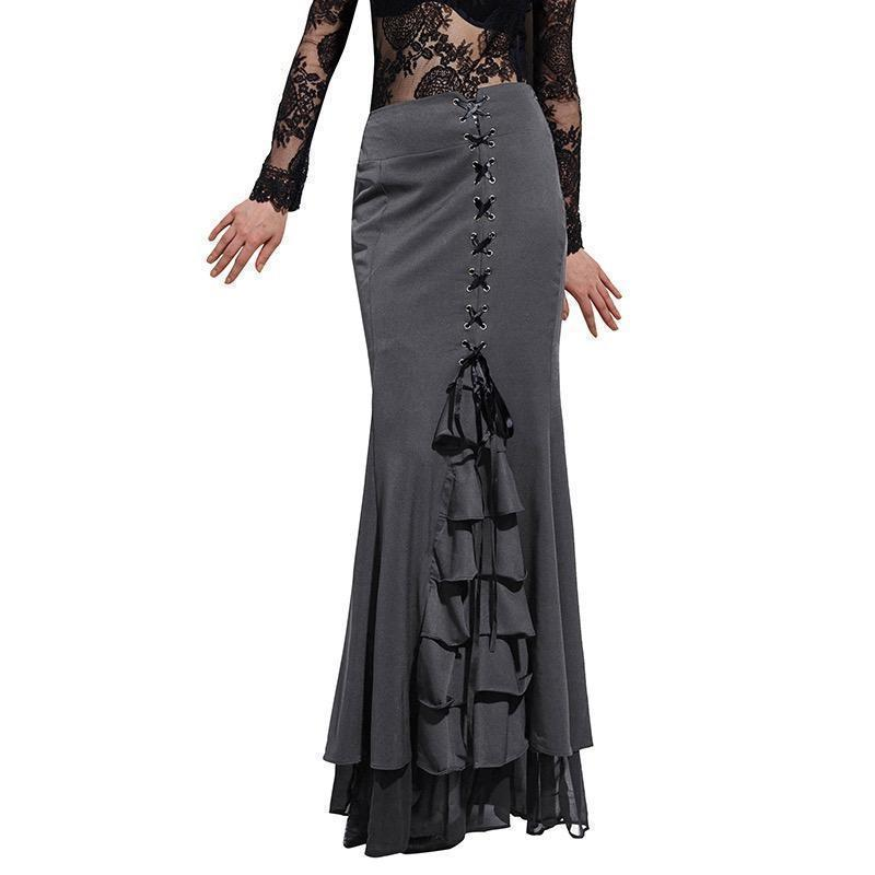 Gothic Mermaid Frilly Skirt For Women-Gray-S-