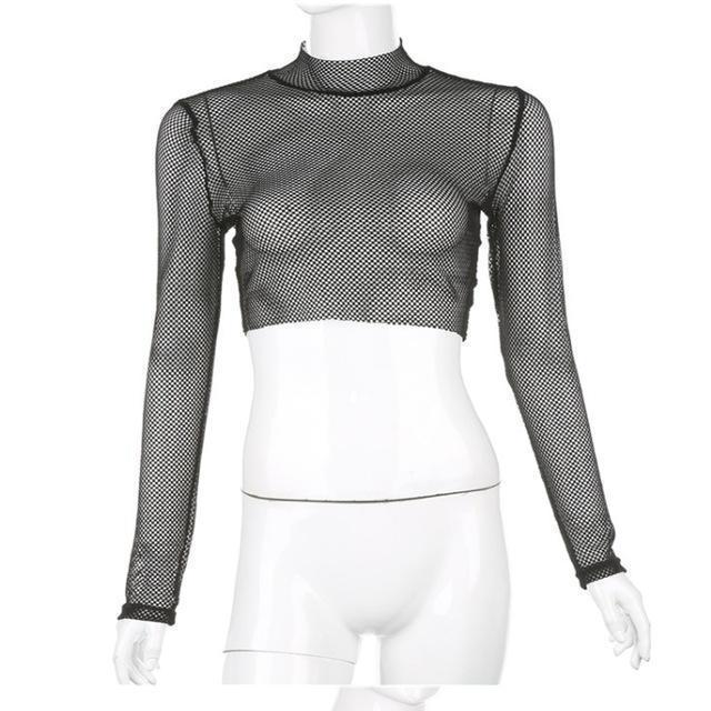 Gothic Mesh Full Sleeve Crop Top-L-