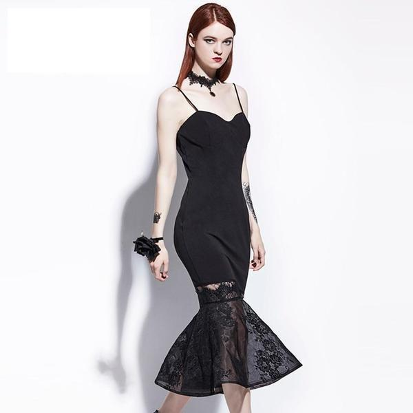 Gothic Mesh Sexy Strap Mermaid Dress - The Black Ravens