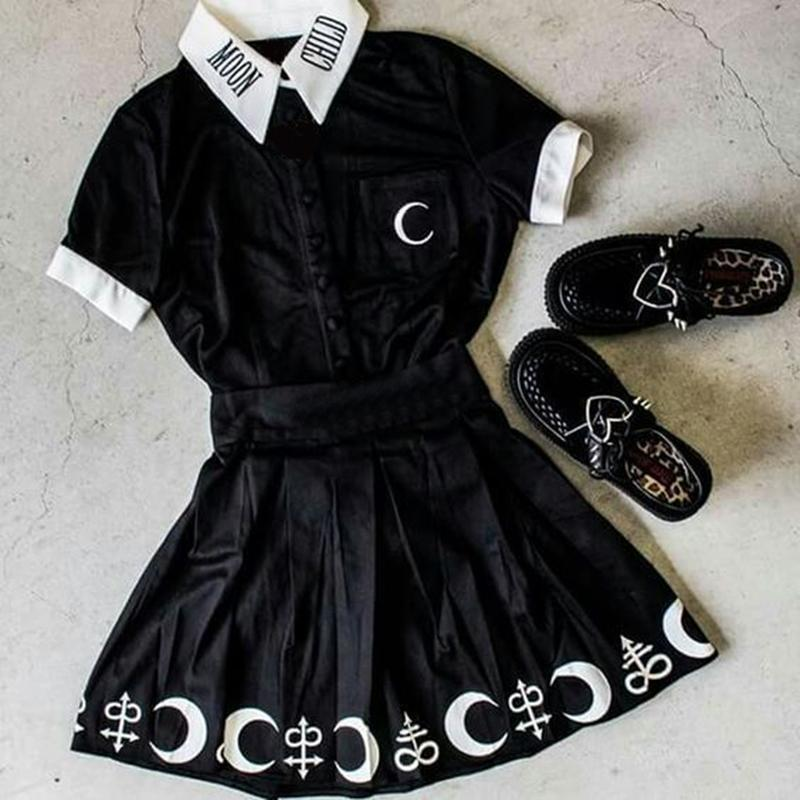 Gothic Moon Child Collared Female Blouse-L-