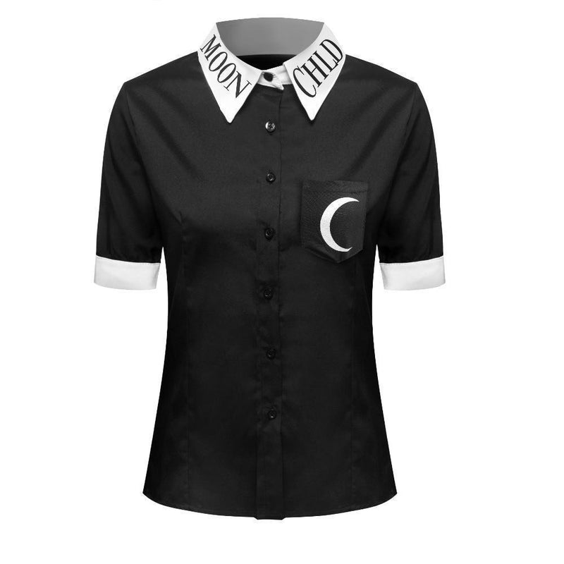 Gothic Moon Child Collared Female Blouse-S-