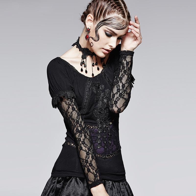 Gothic Off Shoulder Lace T-Shirts - The Black Ravens