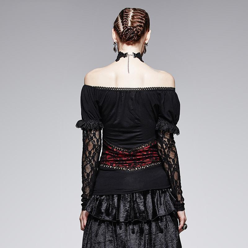 Gothic Off Shoulder Lace T-Shirts-Black Red-XS-