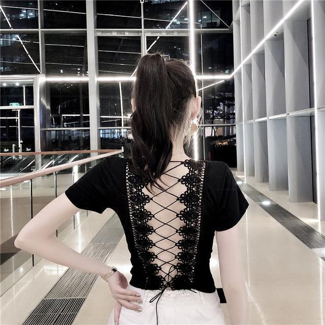 Gothic Open Back Lace Up Girl's Tee - The Black Ravens