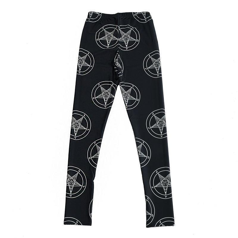 Gothic Pentagram Geometric Leggings-Black-S-