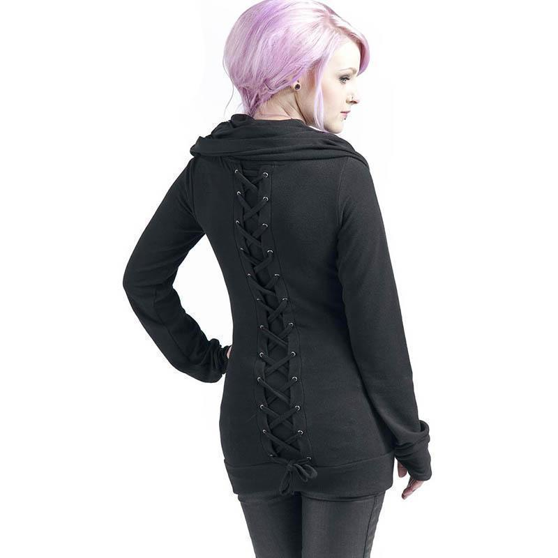 Gothic Retro Lace Up Hoodie For Women-Black-M-