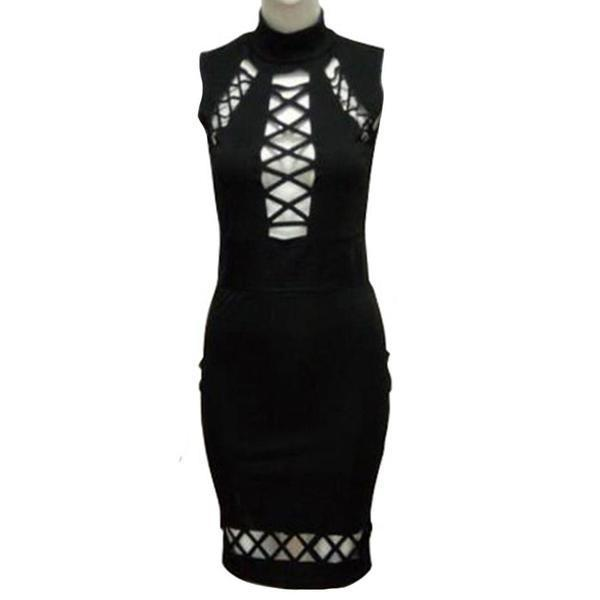 Gothic Sexy Hollow Belt Pencil Dress - The Black Ravens