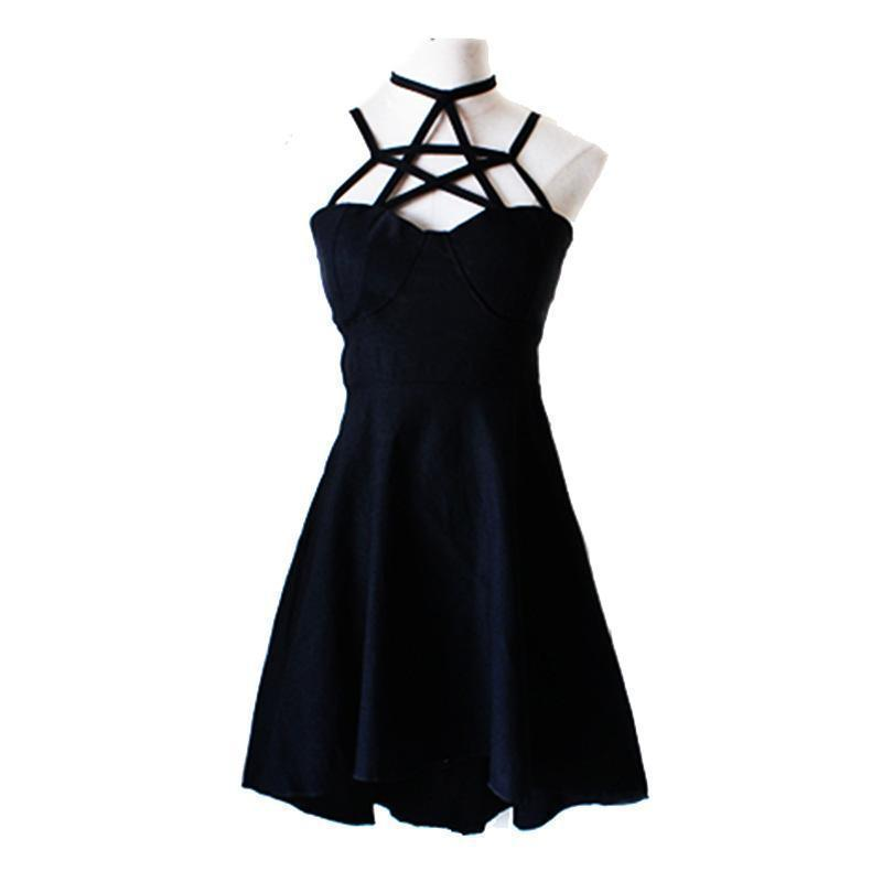 Gothic Sleeveless Star Neckline Dress - The Black Ravens