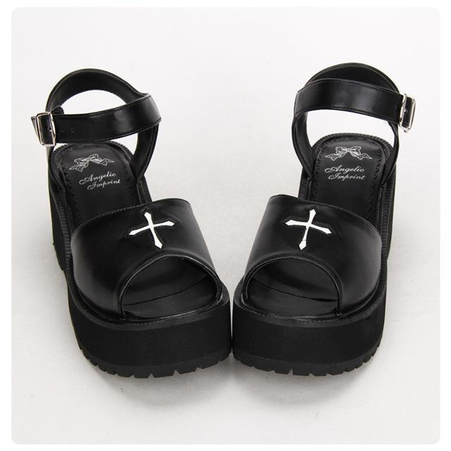 Gothic Summer Black Cross Lolita Sandals - The Black Ravens
