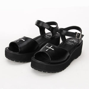 Gothic Summer Black Cross Lolita Sandals-Black-6-