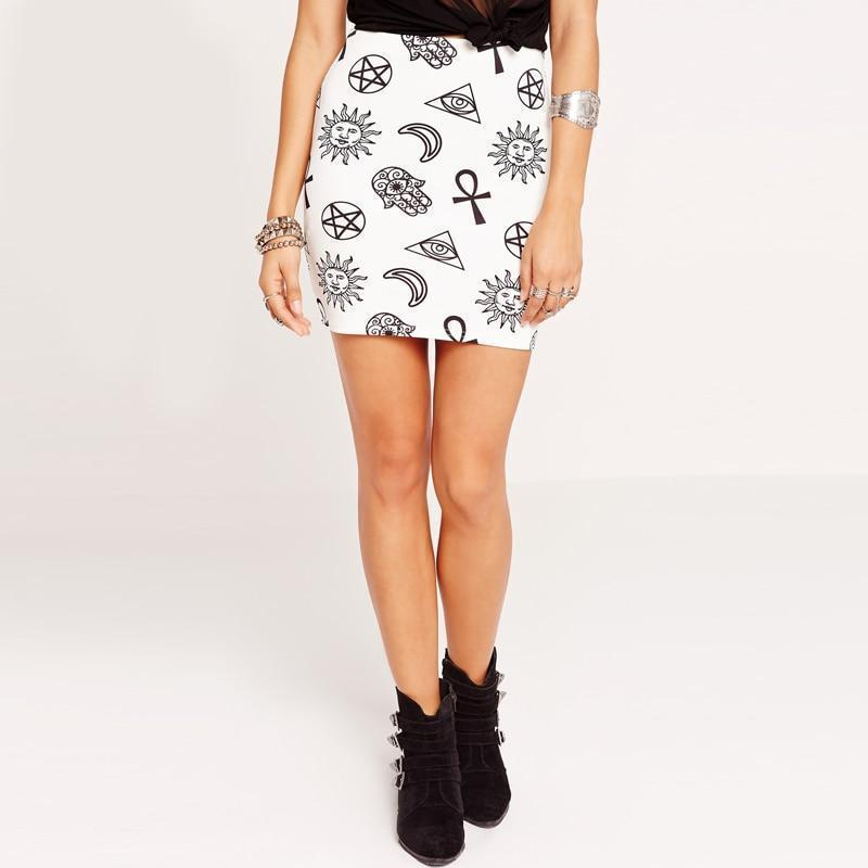 Gothic Symbol Prints Sexy Mini Skirt - The Black Ravens