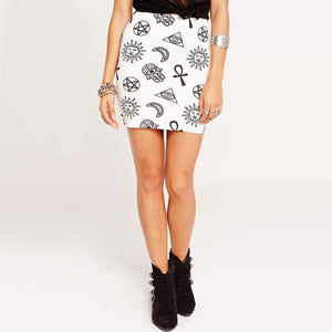 Gothic Symbol Prints Sexy Mini Skirt-L-