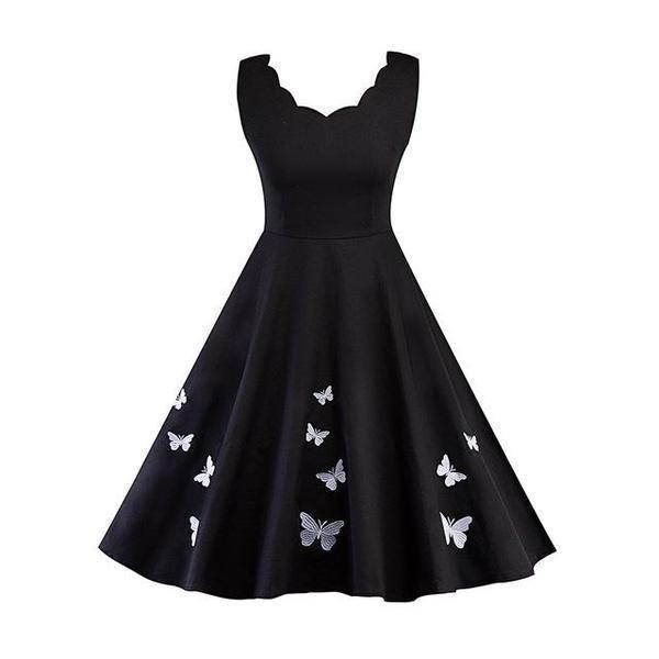 Gothic Vintage Butterfly Party Dress - The Black Ravens