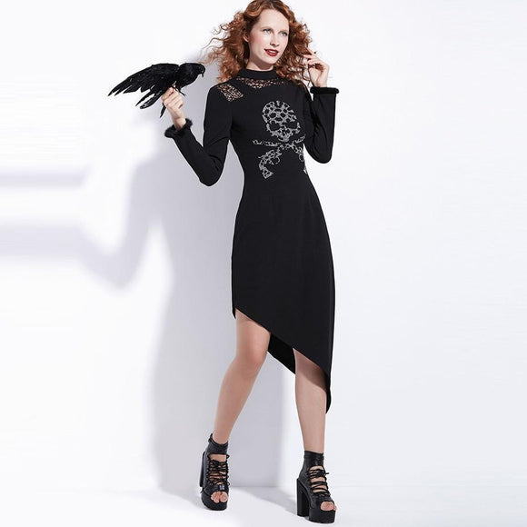 Gothic Women Black Autumn Long Dresses-Black-S-