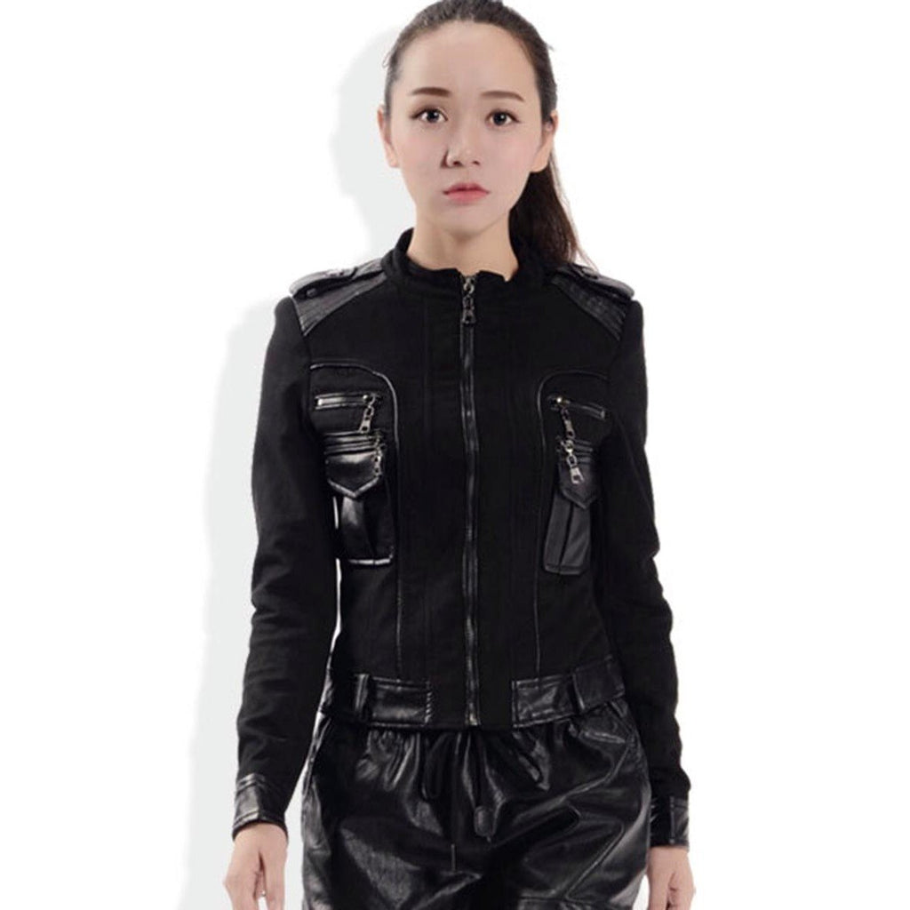 Gothic Zippered Faux Leather Coat-S-