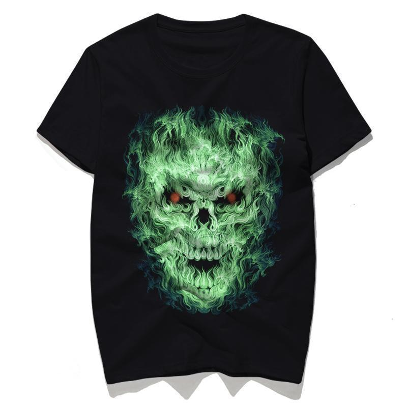 Green Fire Evil Face T-Shirt For Men - The Black Ravens