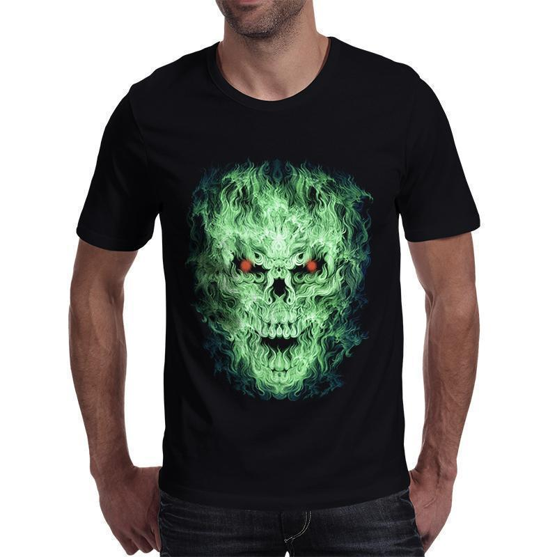 Green Fire Evil Face T-Shirt For Men-Black-S-