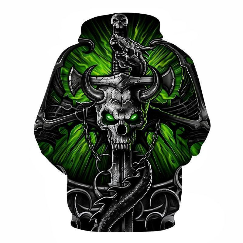 Green Horned Skull And Axe Casual Sweatshirt-Green-XXS-