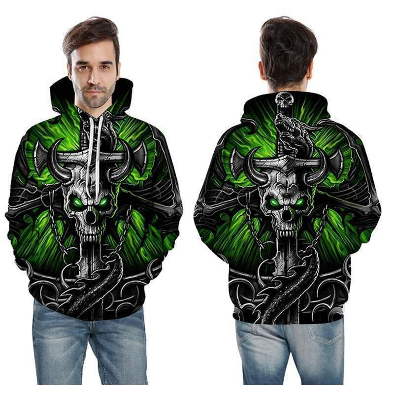 Green Horned Skull and Axe Casual Sweatshirt - The Black Ravens