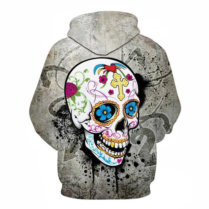 Grey Graffitti Sugar Skull Guys Hoodies - The Black Ravens