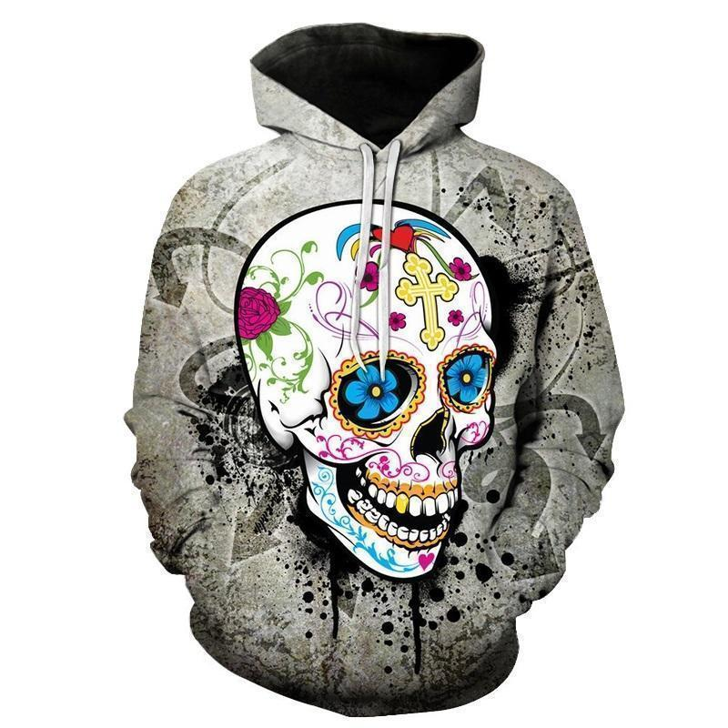 Grey Graffitti Sugar Skull Guys Hoodies-Gray-XXS-