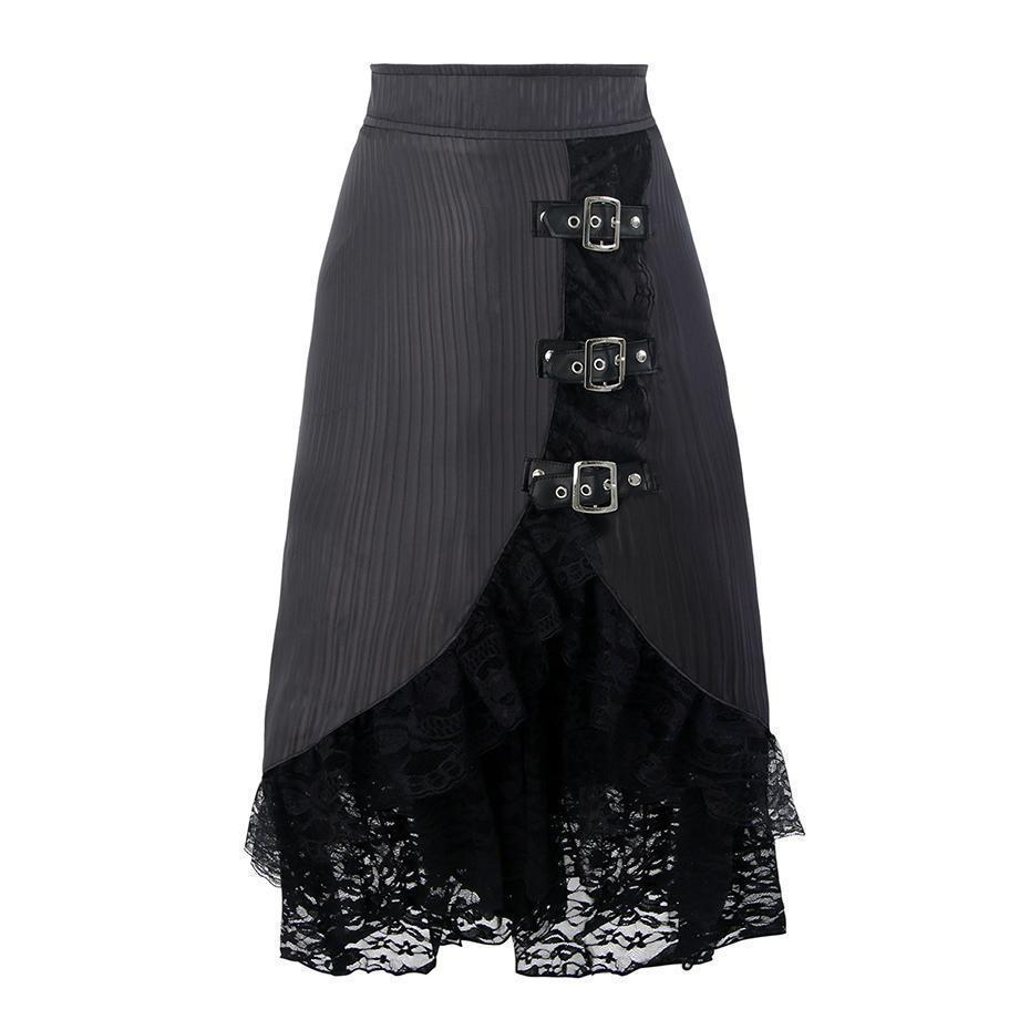 Grey High Waist Pleated Punk Skirt-Gray-S-