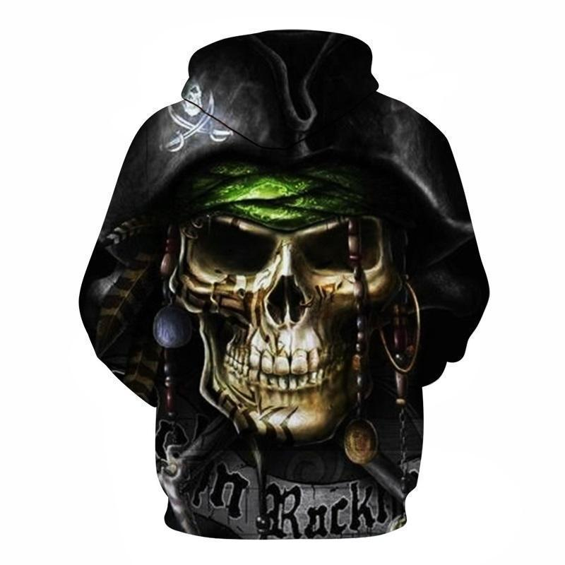 Grey Skeleton Pirate Hooded Jumper - The Black Ravens