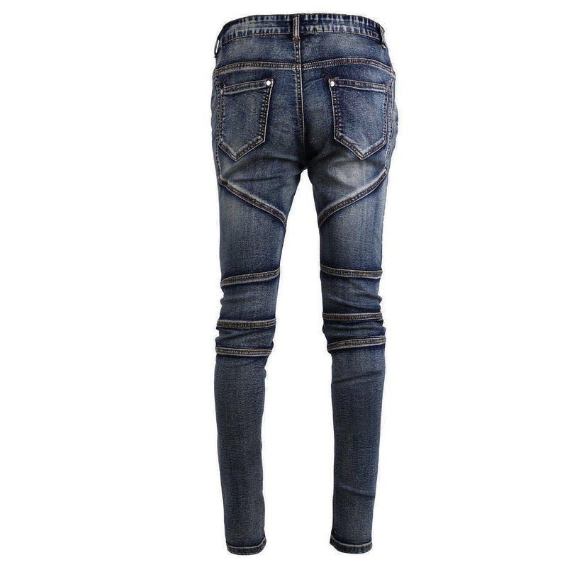 Grey Washed Slim Fit Denim Biker Pants - The Black Ravens